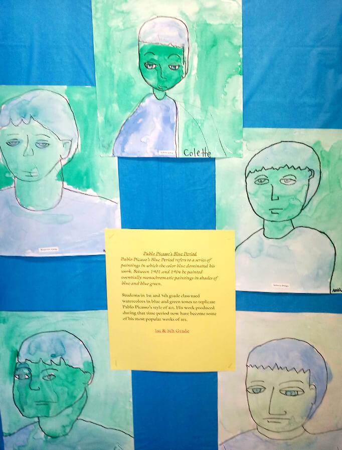 アメリカの子供・小学生が描いたピカソの青の時代の絵画作品、模写