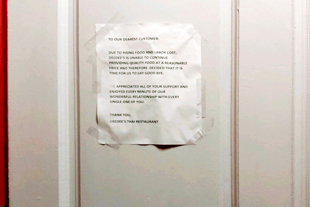Restaurant Entrance door, Closing down poster