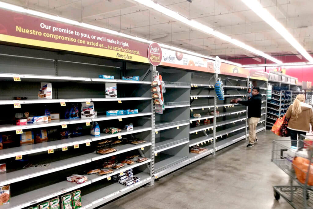 TheS upermarket is panic situation due to Coronavirus in the US