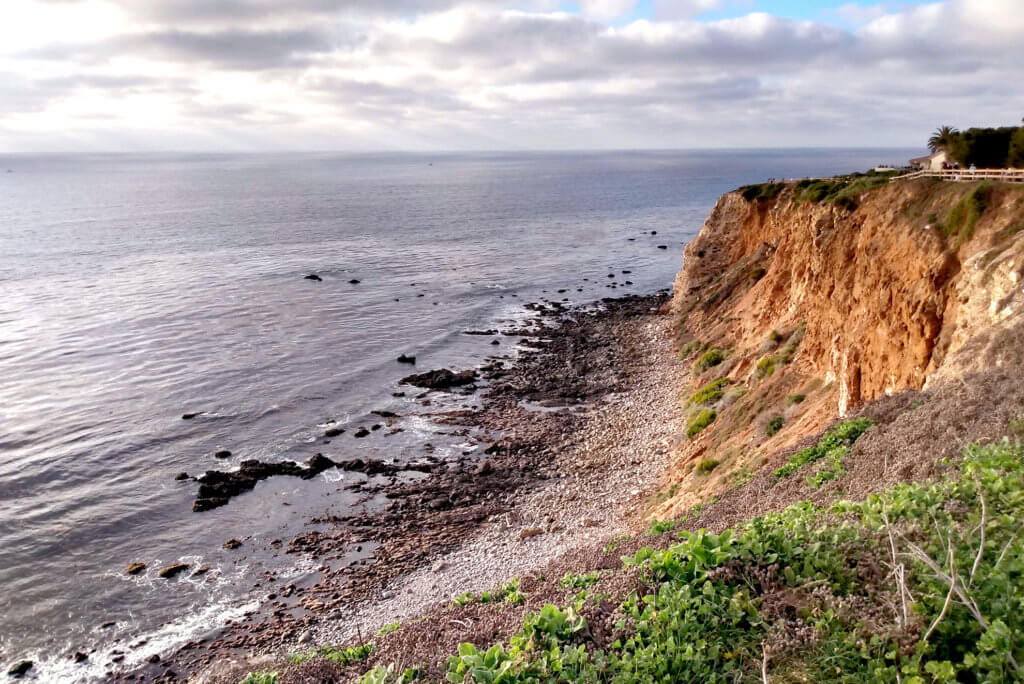 View of cliff and ocean at USA California