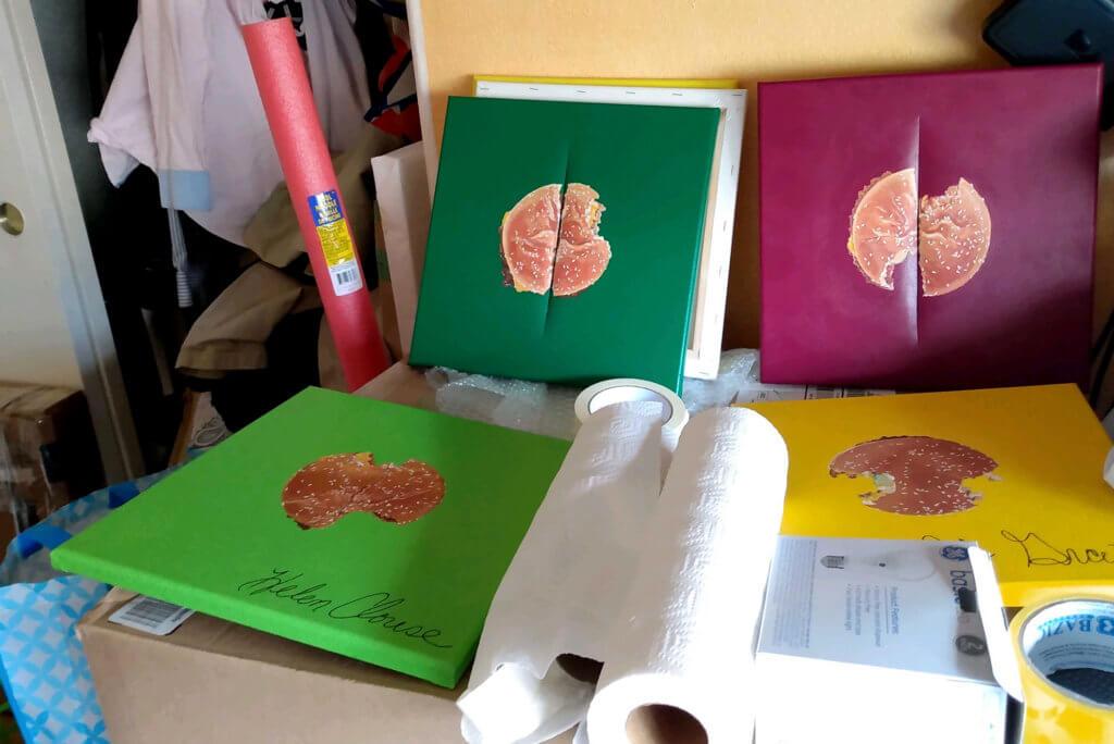 Hamburger paintings, Cutting canvas