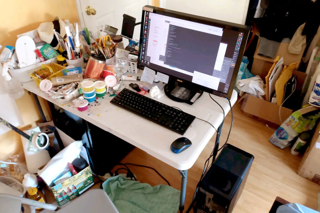 Do remote work at the messy room