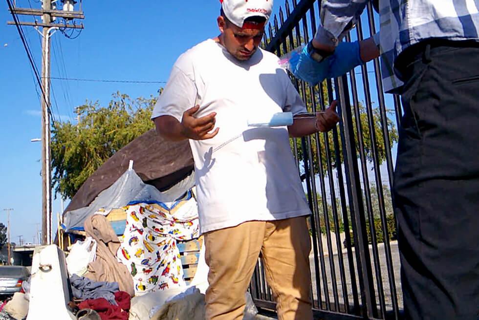 Drug addicted homeless man in Lomita