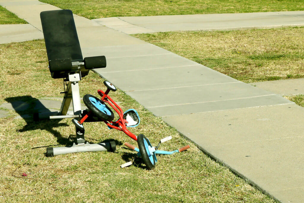 tri-cycle-and-fitness-machine-at-the-yard-in-torrance