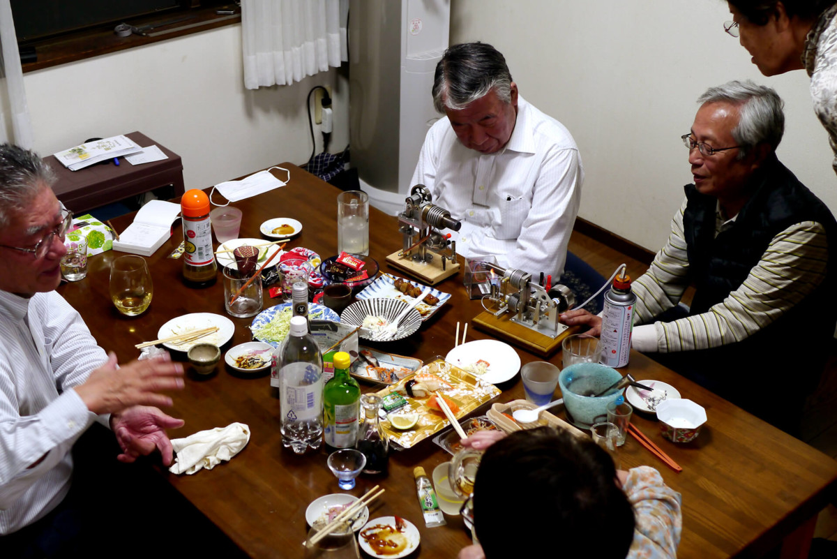 Elder people drinking party at parentes home in Hiroshima