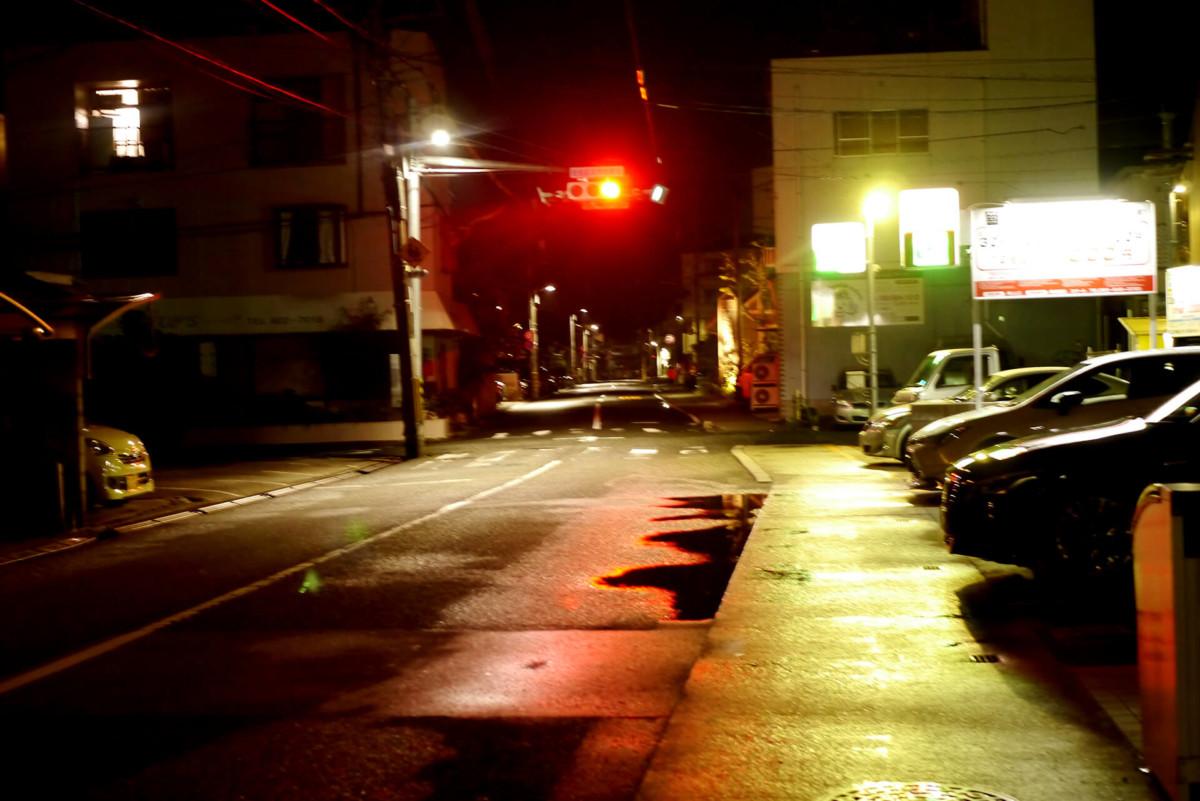 A night road in Hiroshima Itsukaichi