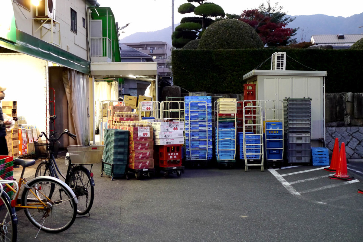 Supermarket parking container at evening