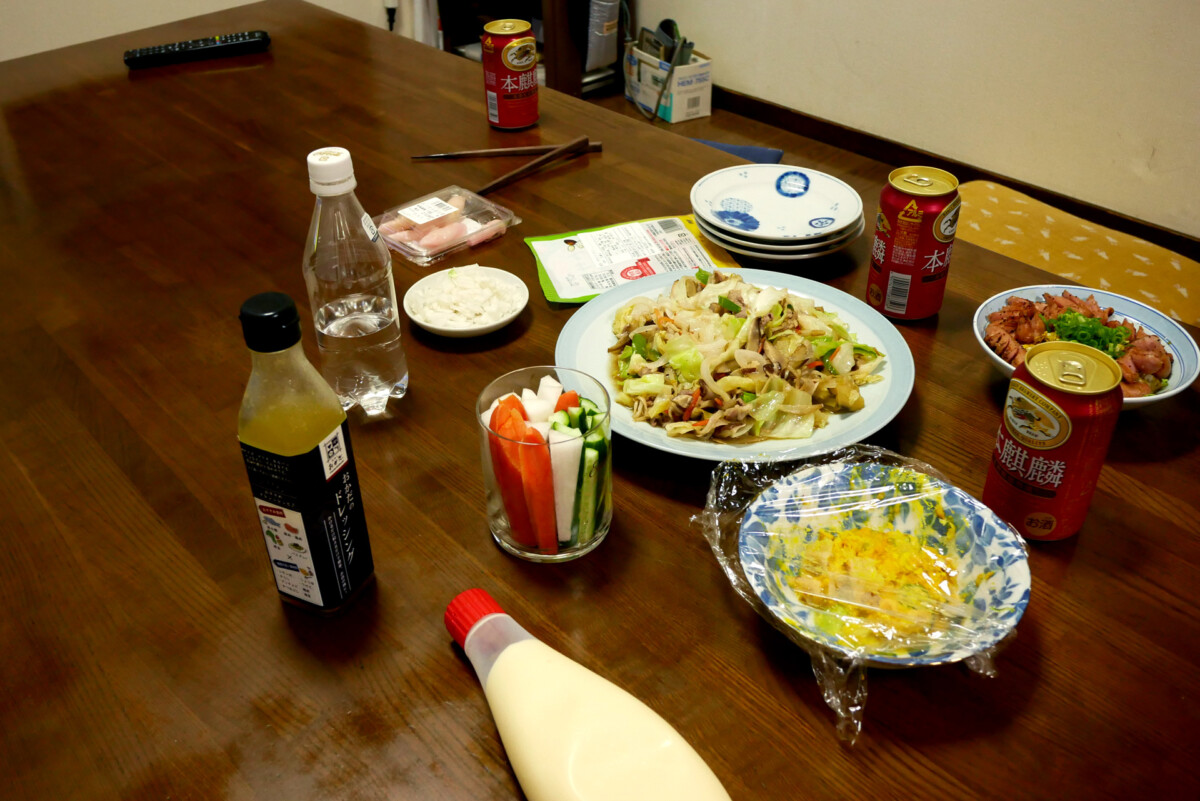 Japanese home dining table with supper made by my father in Hiroshima Japan