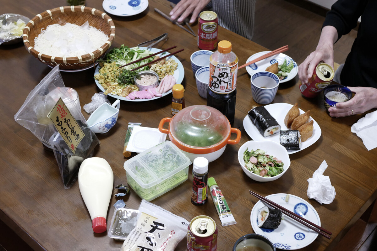 Japanese family style Somen noodles and toppings on the table in Hiroshima Japan