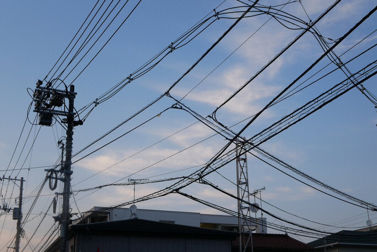 Japanese electric wires in the background of dusk