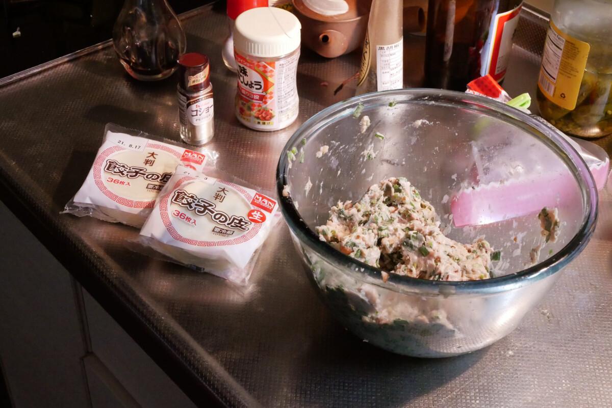 Cooking gyoza ingredients on the kitchen