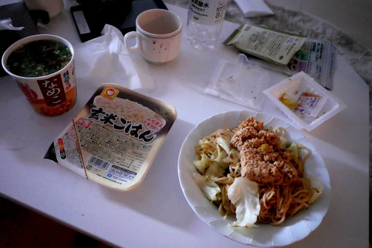 Instant rice, natto spaghetti, instant miso soup on the table