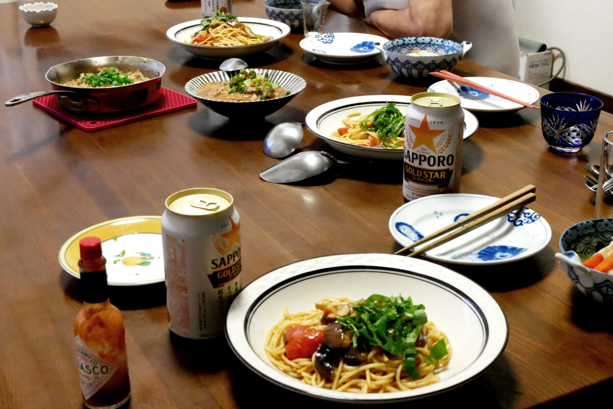 hand made Japanese dishes on the table in Hiroshima Japan