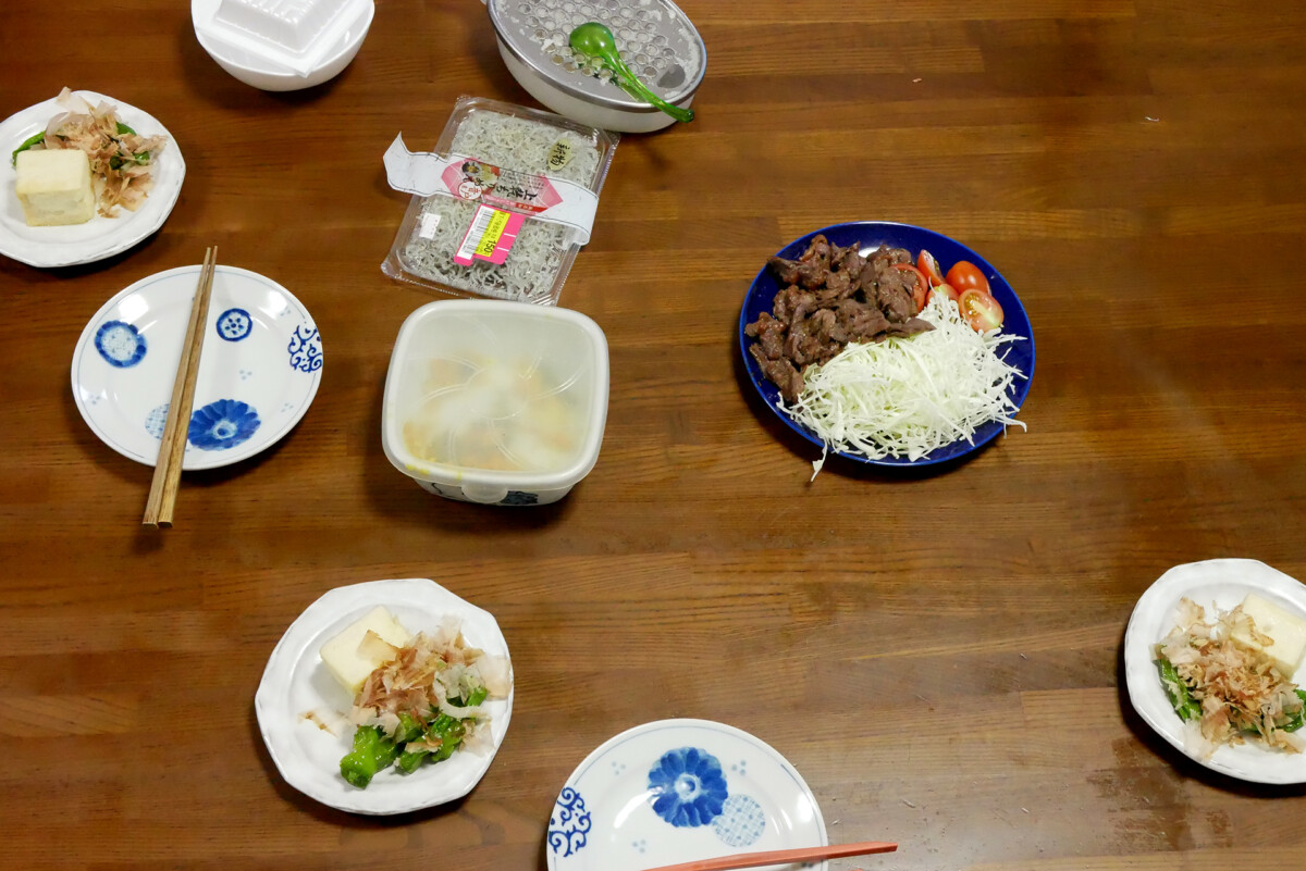 Japanese daily dishes on the brown table in Hiroshima Japan