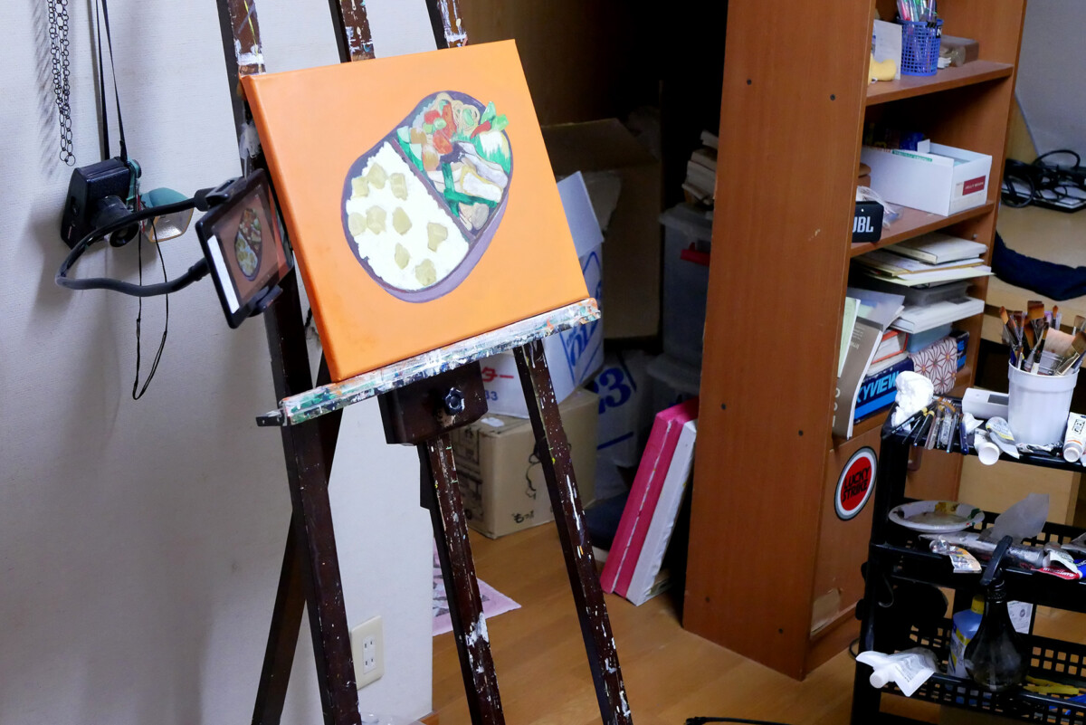 View of painting at the artist studio in Hiroshima Japan