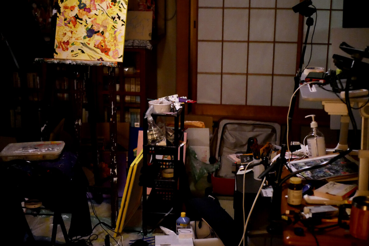 Dark and messy Japanese Painter studio in Hiroshima Japan