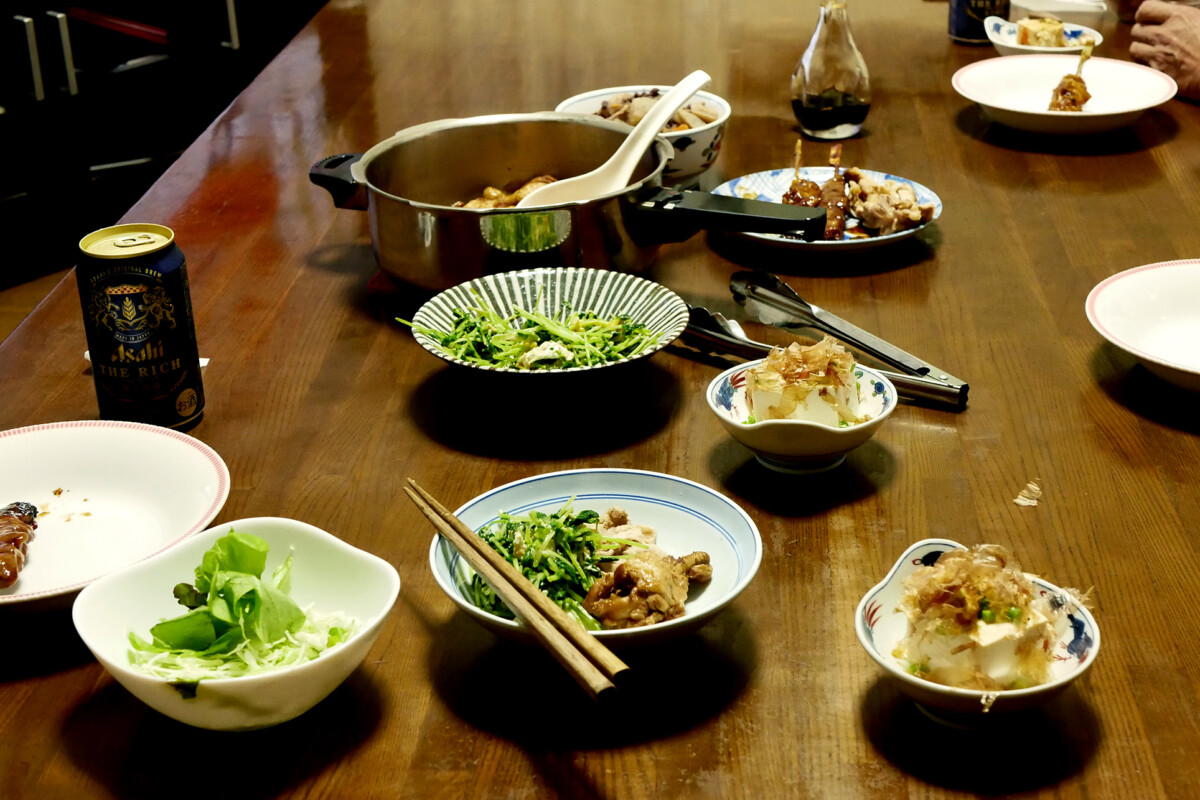 Japanese home made dishes on the table