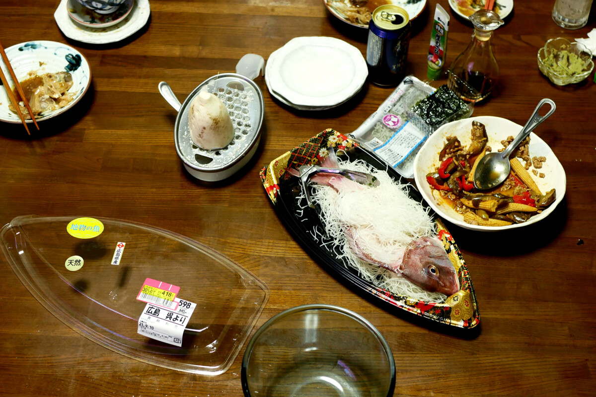 Japanese dishes on the table like sea bream sashimi which was super discounted