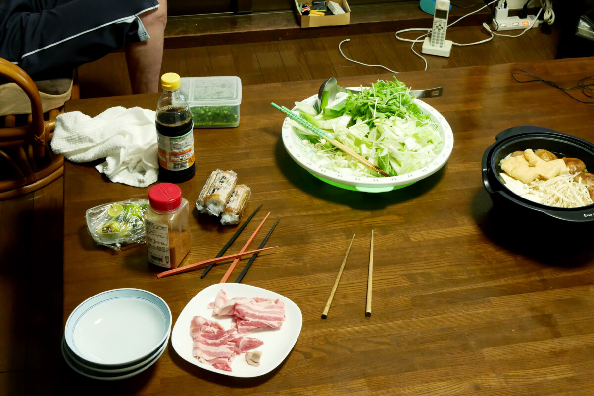 Mizutaki hot pot on the wooden table