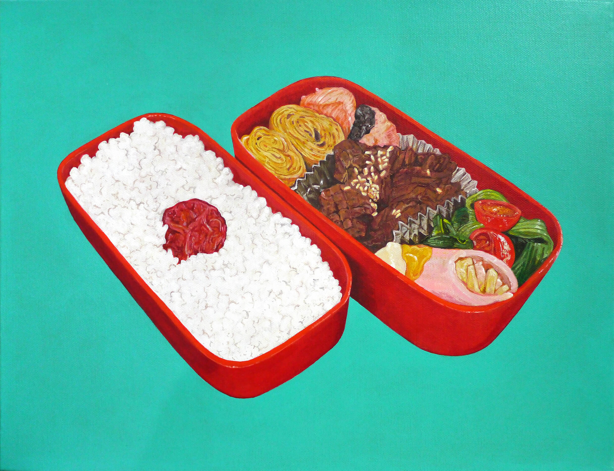 BENTO-May 27, 2018 (Calories 702 kcal, Protein 31.9 g, Total Fat 25.9 g, Total Carbohydrate 80.9 g, Sodium 10.1g / Ingredients; Rice, Japanese-style rolled omelette, Salted salmon, Eggplant and fried konjac, Pak choy, Mini tomato, Pickled plum, Ham, Cheese, Mayonnaise, Mustard, Vegetable oil, Mirin-like seasoning, Sugar, Soy sauce, Sesame)