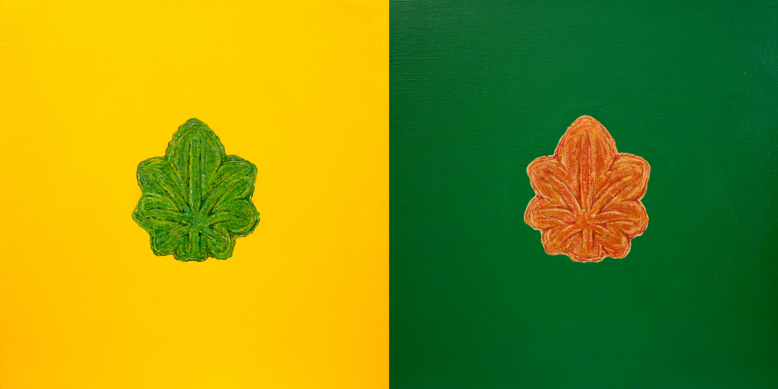 Cannabis-Shaped Sweet Buns (India × Pakistan)2020, acrylic on linen canvas, cannabis oil(contains CBD), 12 × 12 inches (30.5 × 30.5 cm) (set of 2)